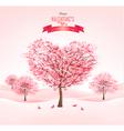 Pink heart-shaped sakura trees Valentines day vector image vector image