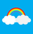 rainbow and two clouds in sky dash line vector image