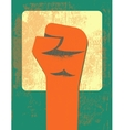 Red clenched fist retro poster vector image