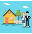 Retro Happy Family with House Real Estate Modern vector image vector image