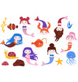 set isolated mermaids and elements vector image vector image