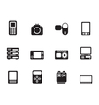 Silhouette media and electronics icons vector image vector image