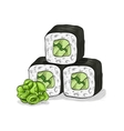 sushi color sketch Cucumber roll vector image vector image