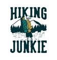 t shirt design hiking junkie with hiking skeleton vector image vector image