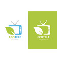 tv and leaf logo combination television vector image vector image