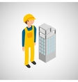 under construction worker with building vector image