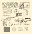 vintage letter and stamps postage elements vector image vector image