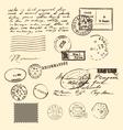vintage letter and stamps postage elements vector image