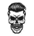 vintage monochrome skull hipster concept vector image vector image