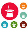wand in hat icons circle set vector image vector image