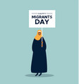 woman in hijab at migrants day rights day march vector image vector image