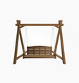 wooden porch swing bench hanging on frame vector image vector image
