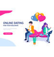 young girl and a guy chatting sitting on a heart vector image vector image