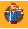 Young man with apple in the kitchen vector image