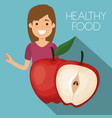 young woman with apple healthy food vector image vector image