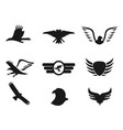 black eagle icons set vector image