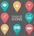 Navigation icons Silhouette Public places vector image