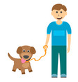 a boy with a cute puppy on a walk vector image vector image