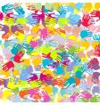 abstract colored hands background vector image vector image