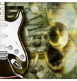 abstract grunge background with guitar and musical vector image vector image
