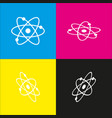 atom sign white icon with vector image vector image