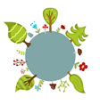 Blue circle and forest trees vector image