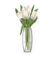 bouquet of white tulips in glass vase vector image vector image