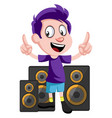 boy with speakers on white background vector image vector image