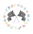 Car Icon Set and Checkered Flags Motor Racing vector image vector image