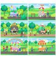carts with street fast food in green parks set vector image vector image