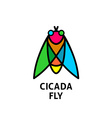 Cicada colorful symbol Insect top view logo vector image vector image