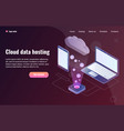 cloud data hosting concept with laptop and phone vector image vector image