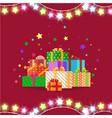 crismas presents in festive boxes vector image vector image