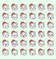 cute santa cat emotion face in various expession vector image vector image