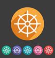 dharma wheel dharmachakra buddhism icon flat web vector image