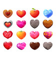 different materials cartoon hearts icons vector image