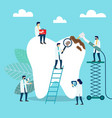 doctors who treat giant teeth like cures dental vector image vector image