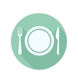 flat icon of the plate fork and knife vector image vector image