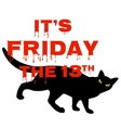 Friday 13 with black cat vector image