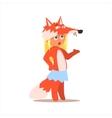 Girl Desguised As Fox vector image
