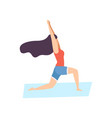 girl in warrior pose young woman practicing yoga vector image vector image