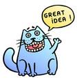 great idea cute cat shout vector image