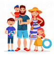 happy family on summer vacation going to beach vector image vector image