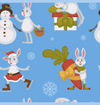 happy new year bunny decorating christmas tree vector image vector image