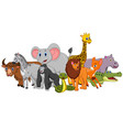 happy safari animal cartoon vector image vector image