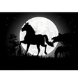 Horse silhouettes with giant moon background vector | Price: 1 Credit (USD $1)