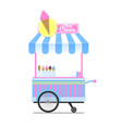 ice cream wagon sketch isolated on white backdrop vector image vector image