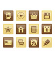 internet and website icons over brown background vector image vector image