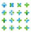 Isolated abstract blue green color cross logo set vector image