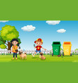 kids walking dog at park vector image